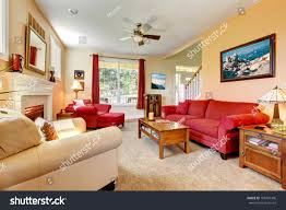 Red Furniture Living Room Cozy Classic Peach Red Beautiful Living Stock Photo 108401306