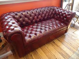 Red Leather Chesterfield Sofa by Cordovan Leather Small Chesterfield Sofa At 1stdibs