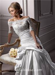 a line off the shoulder satin ruched wedding dress with short