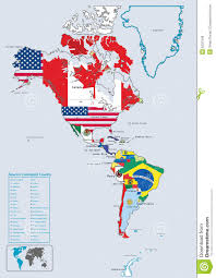 North America Continent Map by America Continental Country Flags And Map Stock Photo Image 8331340
