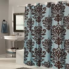 Fleur De Lis Bathroom Ez On Fleur De Lis Fabric With Built In Hooks Brown Spa Blue