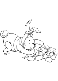 winnie pooh hunting fro easter eggs coloring free