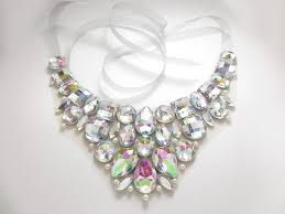 bib necklace designs images Clear ab bridal rhinestone bib necklace from sparkle beast designs jpg