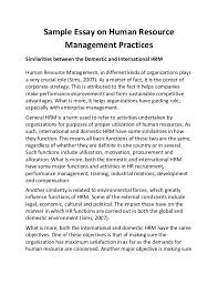 sample essay on human resource management practices
