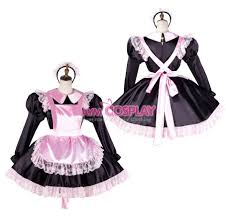 halloween costume maid custom made lockable pansy sissy maid satin lace up pink dress