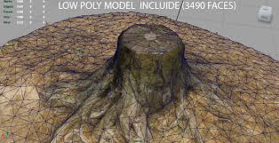 tree stump 2 3d model cgtrader