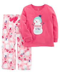 2 snowman fleece pjs carters