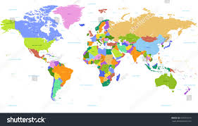 world map with countries name vector political world map countries highlighted stock vector