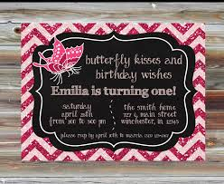 butterfly theme birthday invitation butterfly kisses