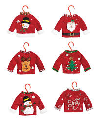 take a look at this tacky christmas sweater fabric ornament set