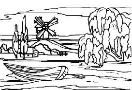 dessin à colorier paysage noel imprimer