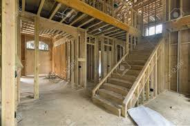 foyer area new two storey home construction framing studs with foyer area