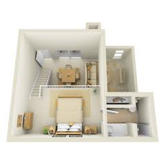One Bedroom Apartment Plans Studio 2nd Floor Townhome 3d Floor Plan Apartments House And