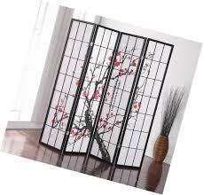 japanese 4 panel room screen divider plum blossom furniture black