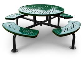 round picnic table with umbrella hole surface mounted picnic