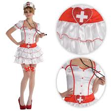 ladies nurse iv white red doctor role play fancy dress