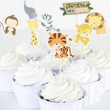 safari cake toppers 24 pcs pack safari wildlife animal party cupcake topper picks cake