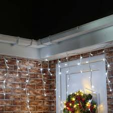 4 8 white outdoor icicle lights 180 leds white cable