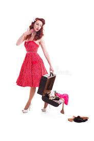 beautiful retro pin up with red polka dot dress royalty free