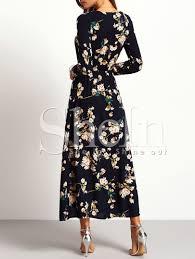 sleeve maxi dress sleeve floral maxi dress shein sheinside