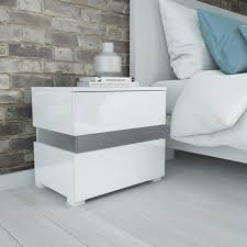 White Bedside Table Sense White High Gloss Bedside Table With Led Light Furniture123