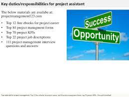 project management assistant job description assistant project