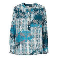 Muster Blau Grün Neu Damen Bluse In Gr 38 Blau Gr禺n Muster Bedruckt Tunika Langarm