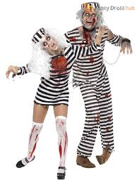 Mens Cowboy Halloween Costume Mens Ladies Zombie Convict Couples Costume Duo Halloween Fancy