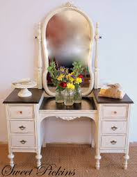 vintage vanity table with mirror and bench before after refinished antique vanity decoratie