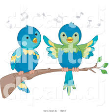 vector clipart of cartoon parrots singing on a tree branch by bnp