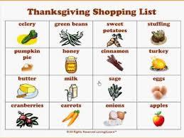 thanksgiving shopping list chart thanksgiving activities