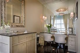 Mirrored Wall Sconce Art Deco Powder Room With Wall Sconce By Millennium Cabinetry