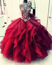 maroon quinceanera dresses beaded sweetheart bodice corset organza ruffles gowns