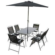 Black Glass Patio Table Outside Table And 6 Chairs Patio Furniture Conversation Sets