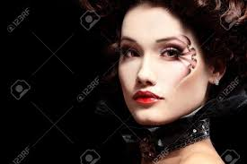 halloween background portrait woman beautiful halloween vampire baroque aristocrat over black
