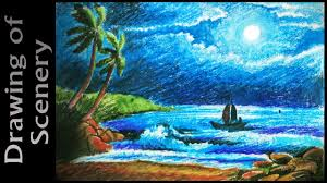 how to draw moonlight night scene with oil pastels