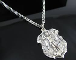 sterling silver necklace pendants images 925 sterling silver st michael badge pendant with 24 inch chain jpg