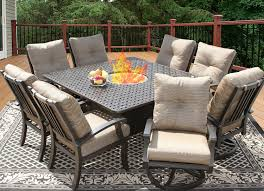 furniture wrought iron firepit patio dining table plus swivel