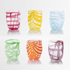 bicchieri vetro 6 bicchieri goto coriandolo colori vetro di murano