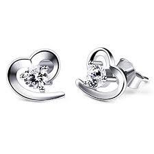 silver studs b catcher heart earrings womens 925 sterling silver