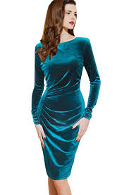 velvet dress solid color draped sleeve velvet party dress sleeve