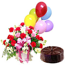 balloons and chocolate delivery online 7 half kilo eggless chocolate cake n mixed roses and balloons