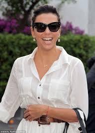 necklace with white shirt images Eva longoria looks stylish in white shirt dress with snakeskin jpg