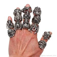 silver skeleton ring holder images Wholesale oversize gothic skull carved biker mixed styles men 39 s jpg