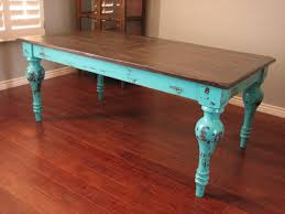 Painted Dining Table by European Paint Finishes Rustic Turquoise Dining Table