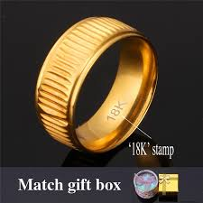men rings wholesale images U7 classic 18k real gold plated vintage band ring with 18k stamp jpg