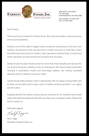 letter from the president farbest foods