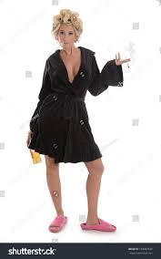 Full Length Bathrobe Woman Cigarette Liquor Bottle Bath Robe Stock Photo 169492829