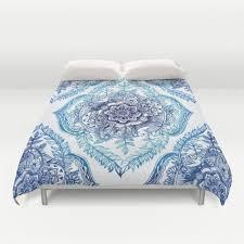 Porcelain Blue Duvet Cover Boho Duvet Cover Modern Bedding Hipster Duvet Cover By Besoins