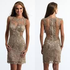 aliexpress com buy dark gold cocktail dresses 2016 sheer neck